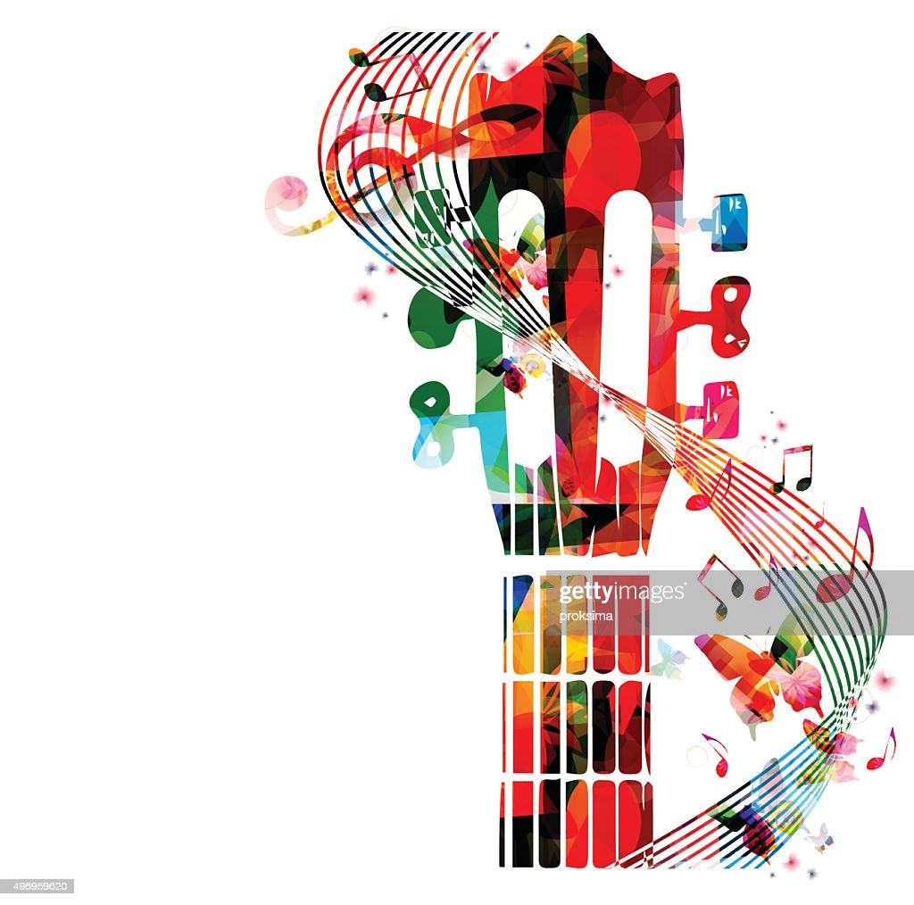 Colorful guitar fretboard with butterflies