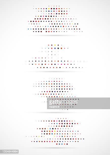 カラフルハーフトーンドットパターンコレクション - モアレ縞点のイラスト素材/クリップアート素材/マンガ素材/アイコン素材