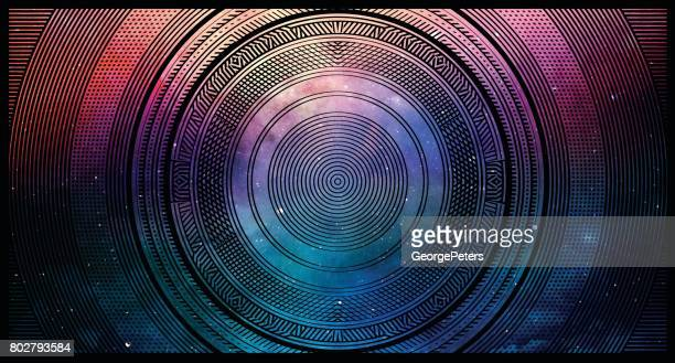colorful half tone pattern background with space and stars - fantasy stock illustrations