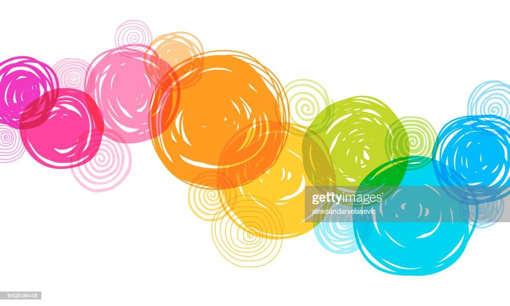 Fundo de círculos coloridos mão desenhada : Ilustração