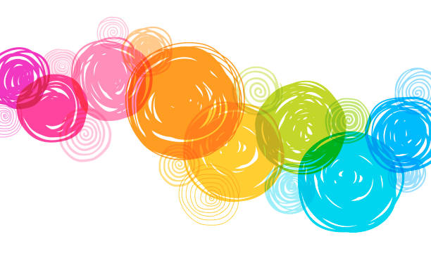 colorful hand drawn circles background - rainbow stock illustrations