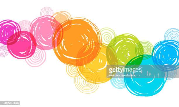 illustrazioni stock, clip art, cartoni animati e icone di tendenza di colorful hand drawn circles background - motivo ornamentale