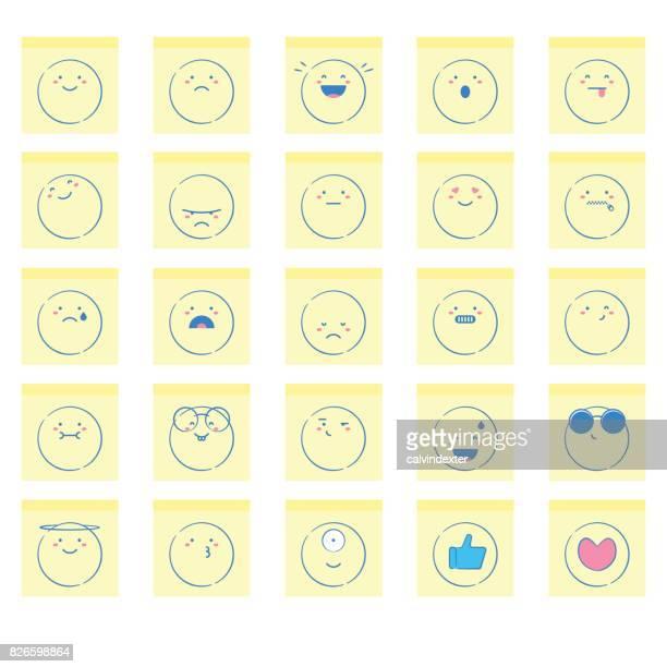 ilustrações, clipart, desenhos animados e ícones de mão colorida extraídas emoticons em notas adesivas - smiley faces