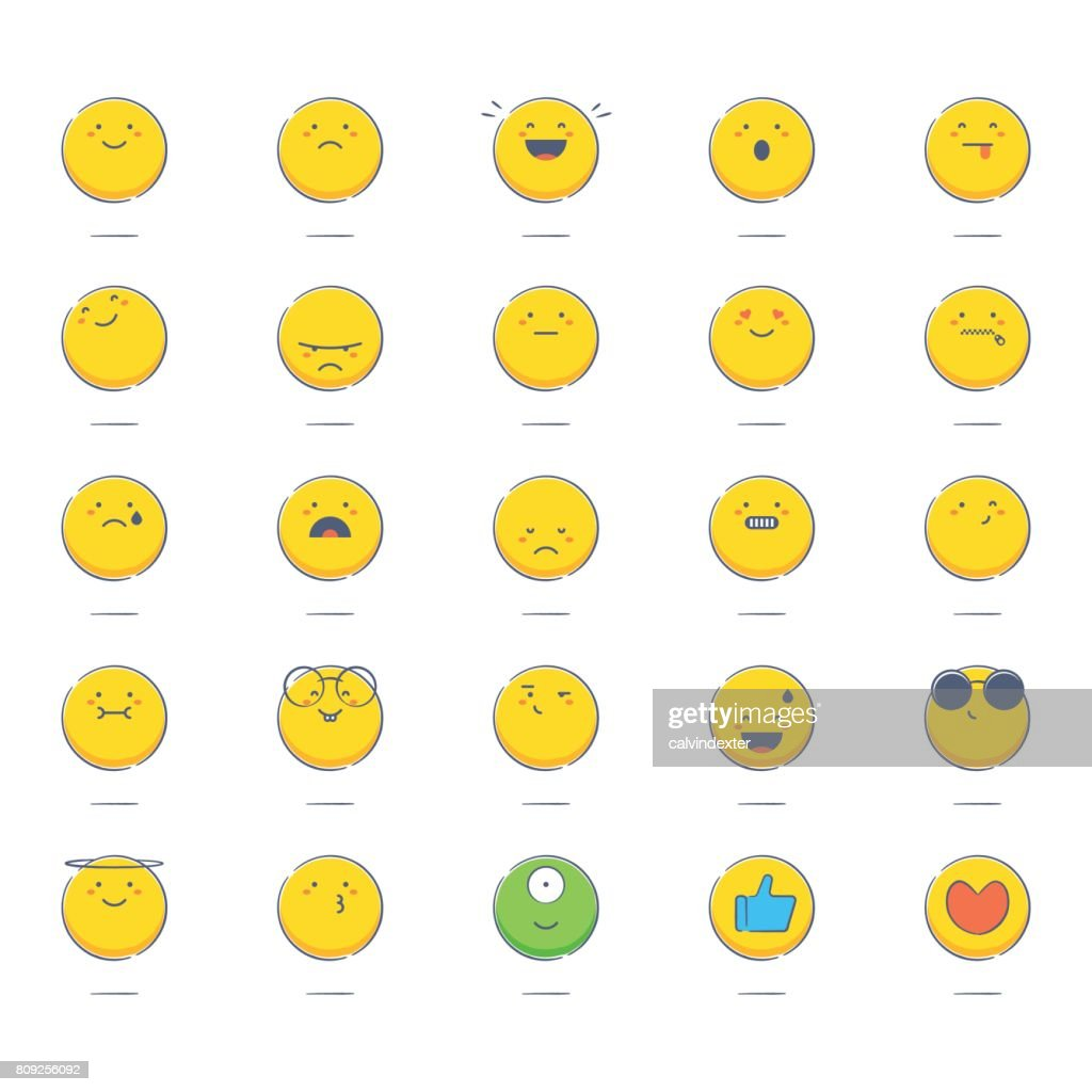 Colorful hand drawn emoticons : stock vector