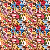 Colorful hand drawn fast food seamless pattern