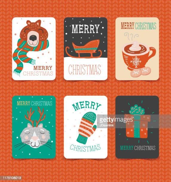 ilustraciones, imágenes clip art, dibujos animados e iconos de stock de colorida mano dibujada feliz navidad navidad saludo colección de tarjetas sobre fondo de punto - chocolate caliente