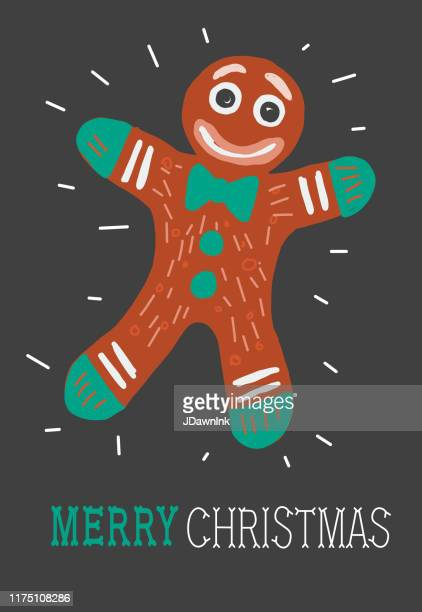 colorful hand drawn merry christmas holiday greeting card with gingerbread man - gingerbread man stock illustrations