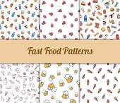 Colorful hand drawn vector fast food seamless patterns set