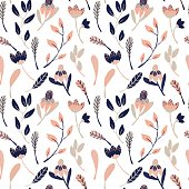 Colorful hand drawn wild flowers seamless pattern background, in pink and blue theme