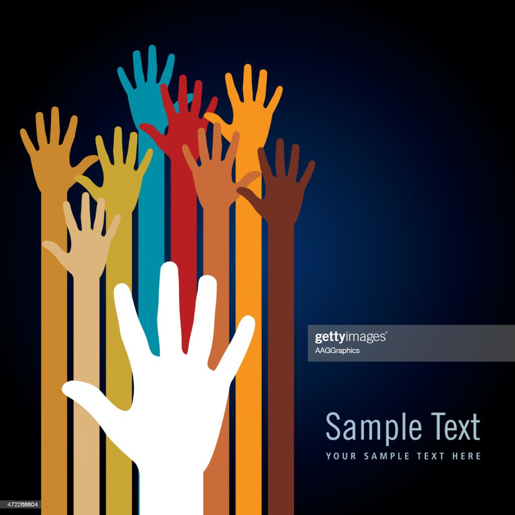 Colorful hand illustrations on black background template