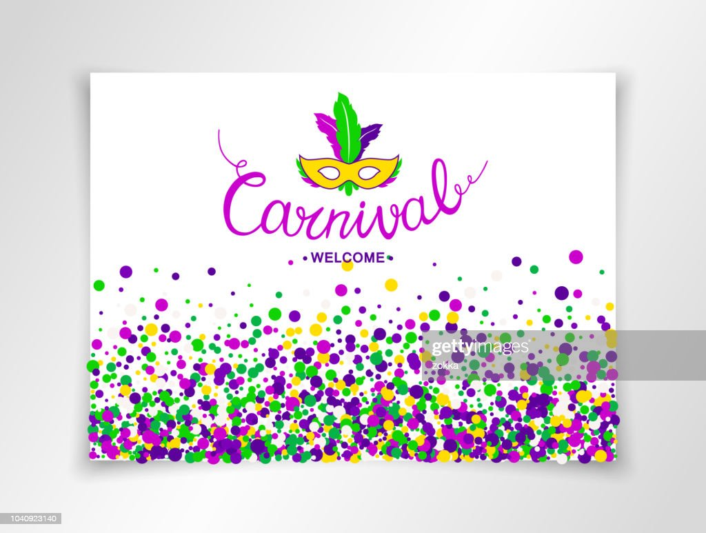 Colorful hand lettering Welcome Carnival with masquerade mask isolated on white background. Vector banner.