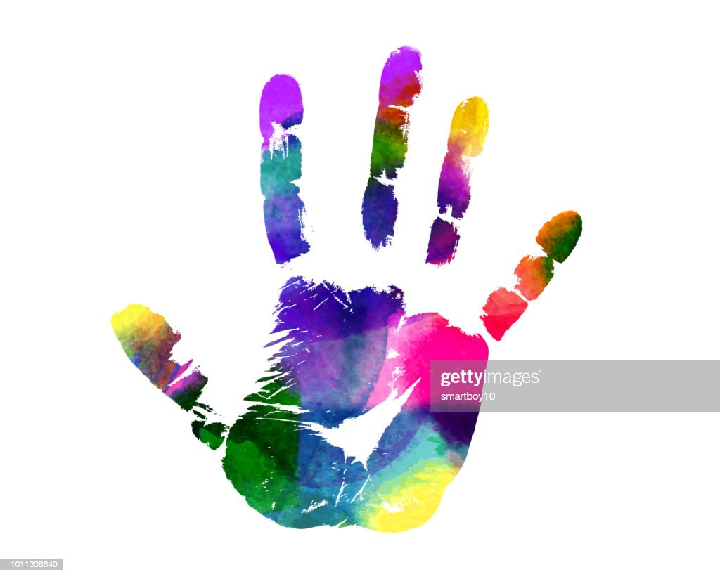Colorful Hand Print : stock illustration