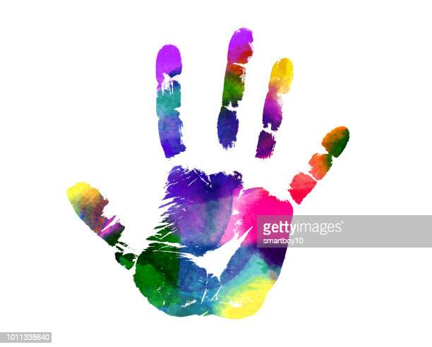 colorful hand print - hand stock illustrations