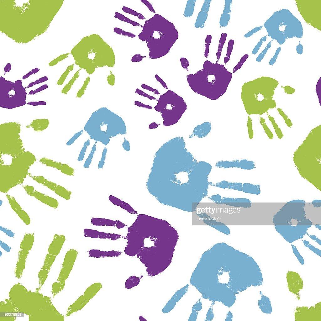 Colorful Handprint Seamless Tile
