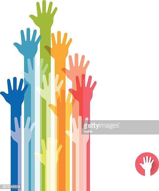 Colorful hands raised straight up