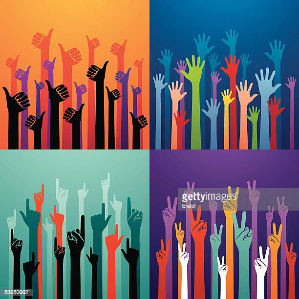 Colorful Hands Raised Up