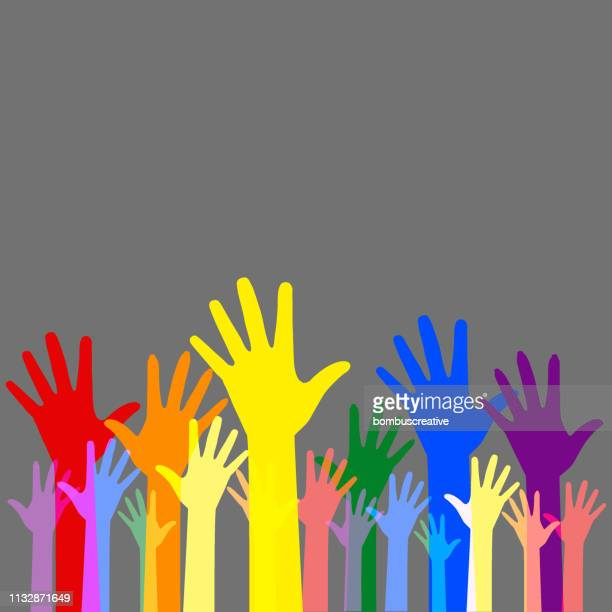colorful hands - human rights stock illustrations