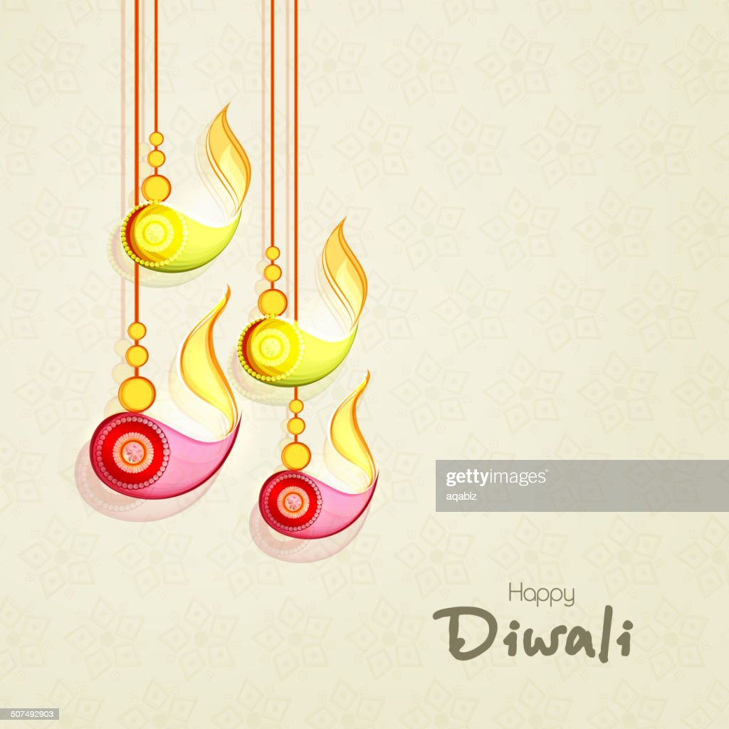 Colorful hanging lit lamps for Happy Diwali festival celebrations.