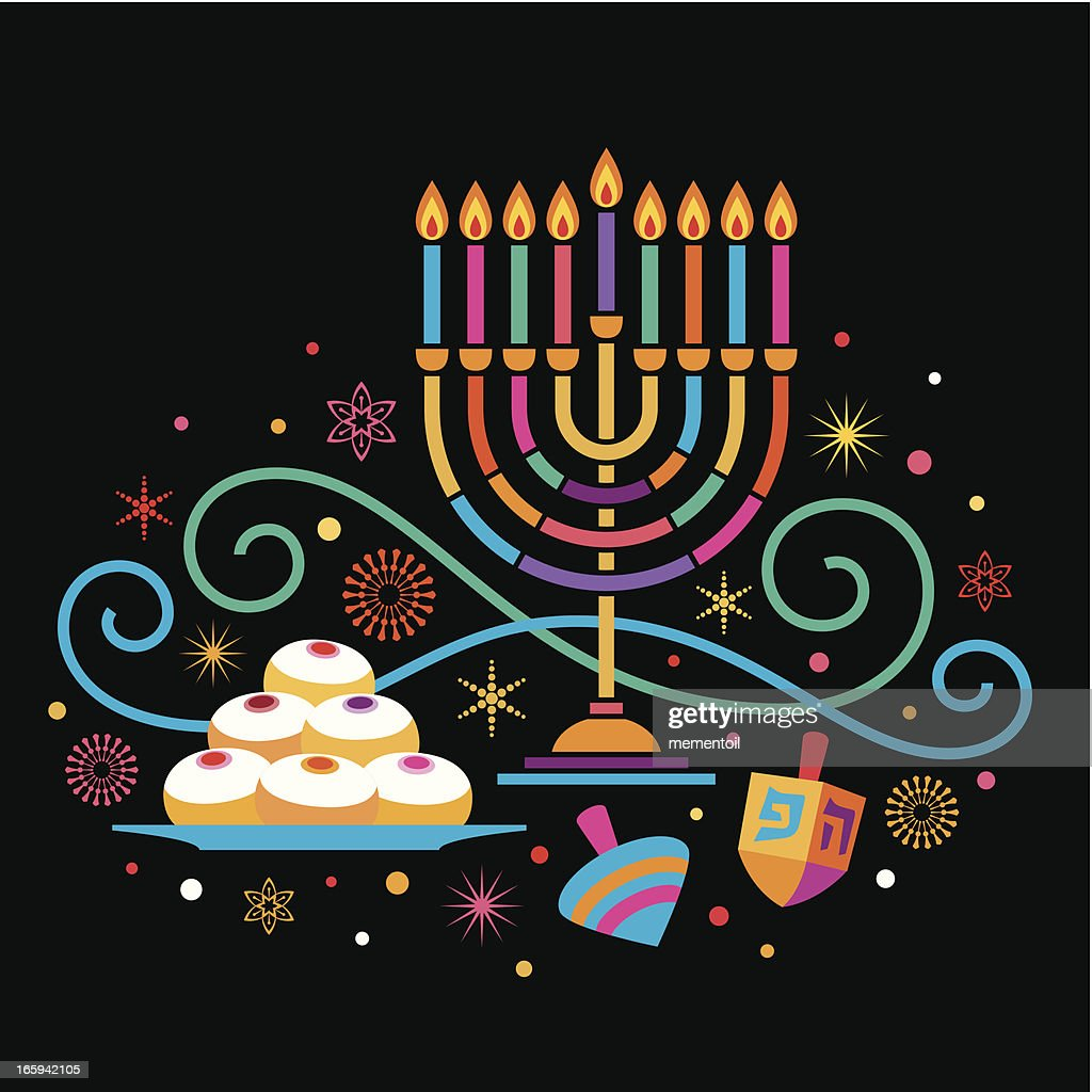 Colorful Hanukkah : stock illustration