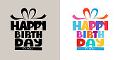3D Colorful happy birthday calligraphy 0006