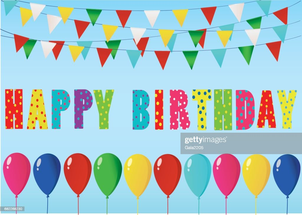 Colorful Happy Birthday Candles Rainbow Garland Of Flags Letters And