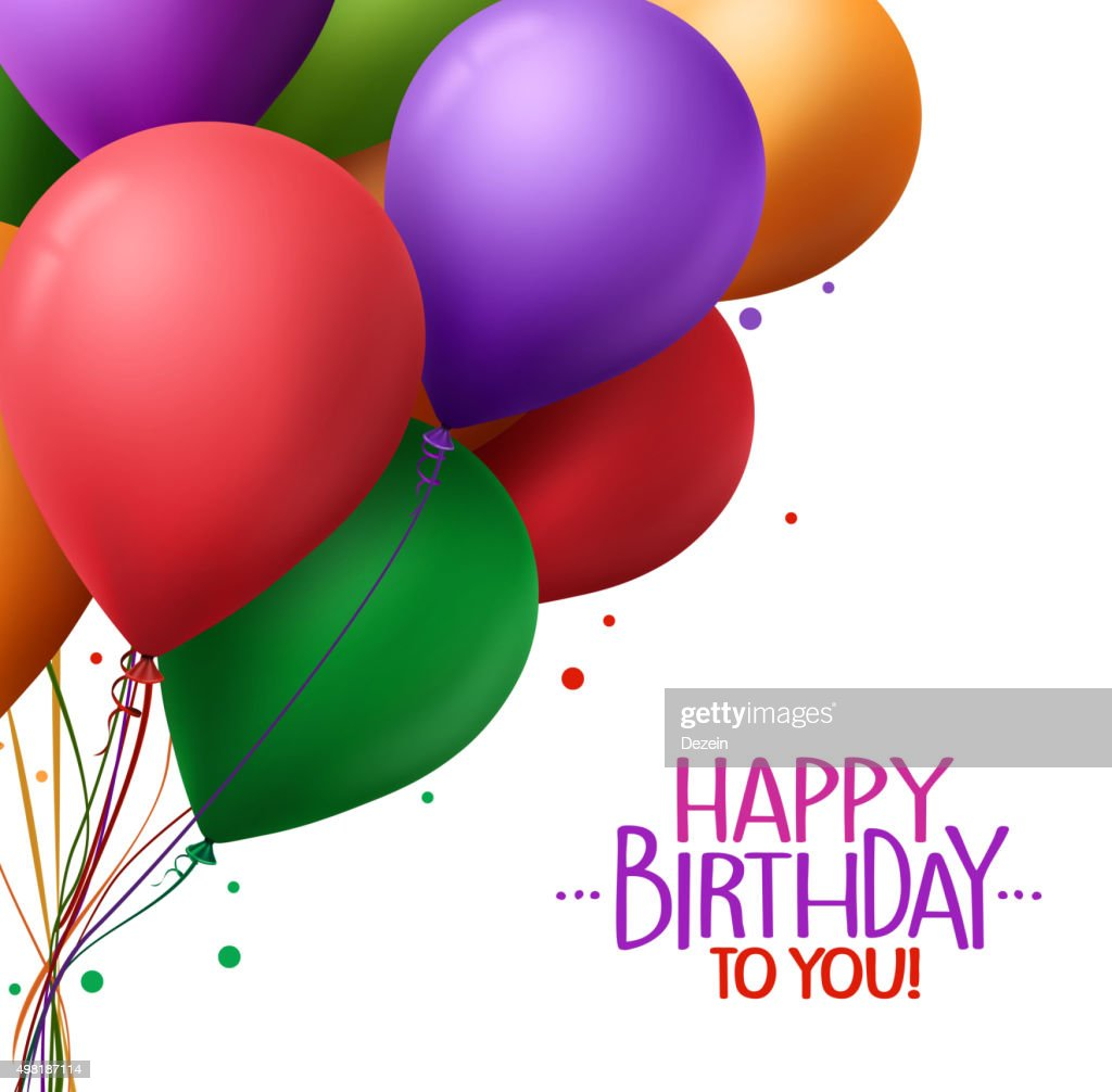 Colorful Happy Birthday Greetings With Vector Balloons In Background