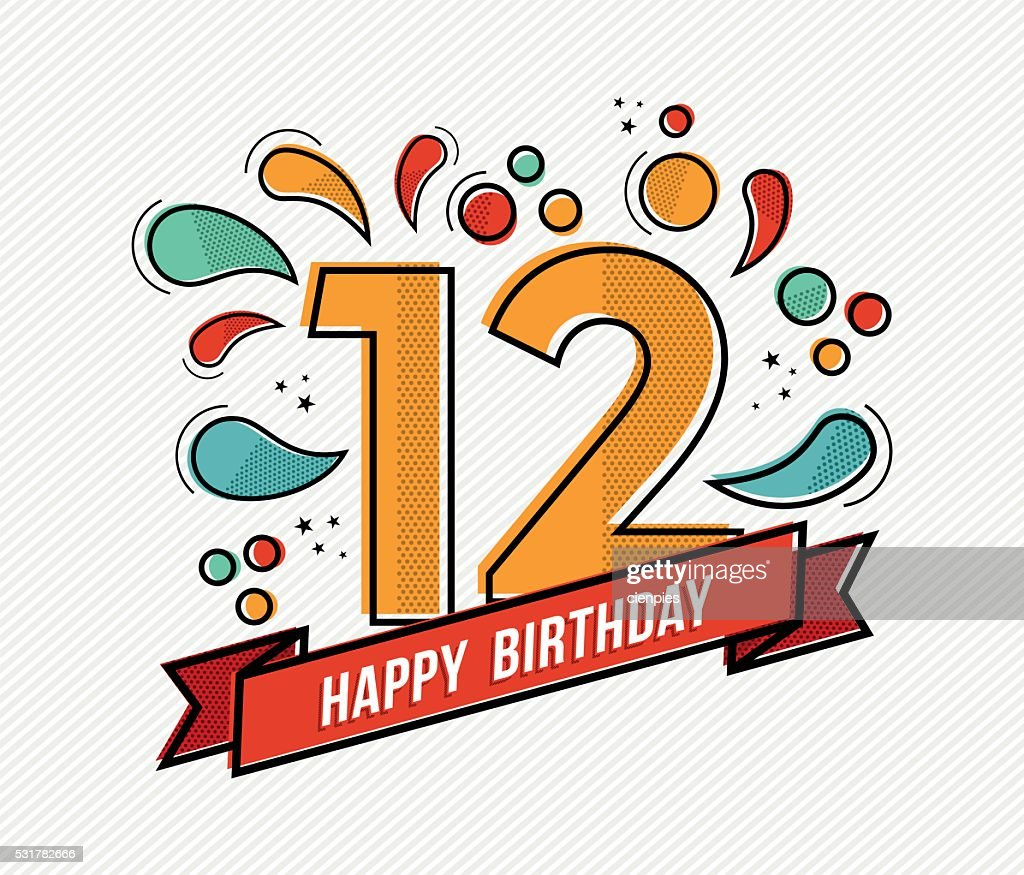 Colorful happy birthday number 12 flat line design