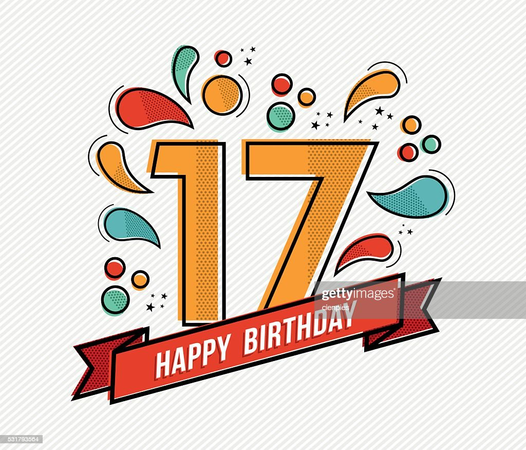 Colorful happy birthday number 17 flat line design