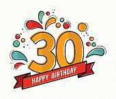 Colorful happy birthday number 30 flat line design