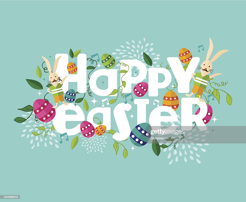 Colorful Happy Easter composition