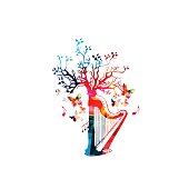 Colorful harp with treetop