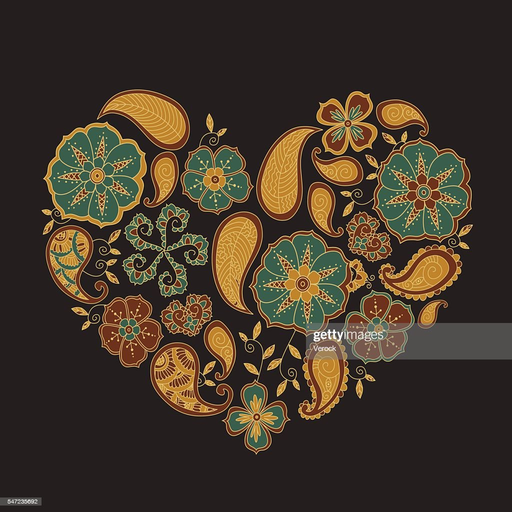Colorful heart with mehendi flowers and leafs on dark background.