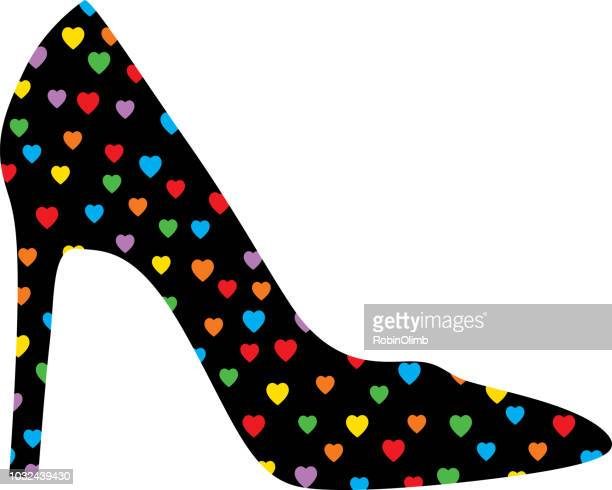 Colorful Hearts High Heel Shoe