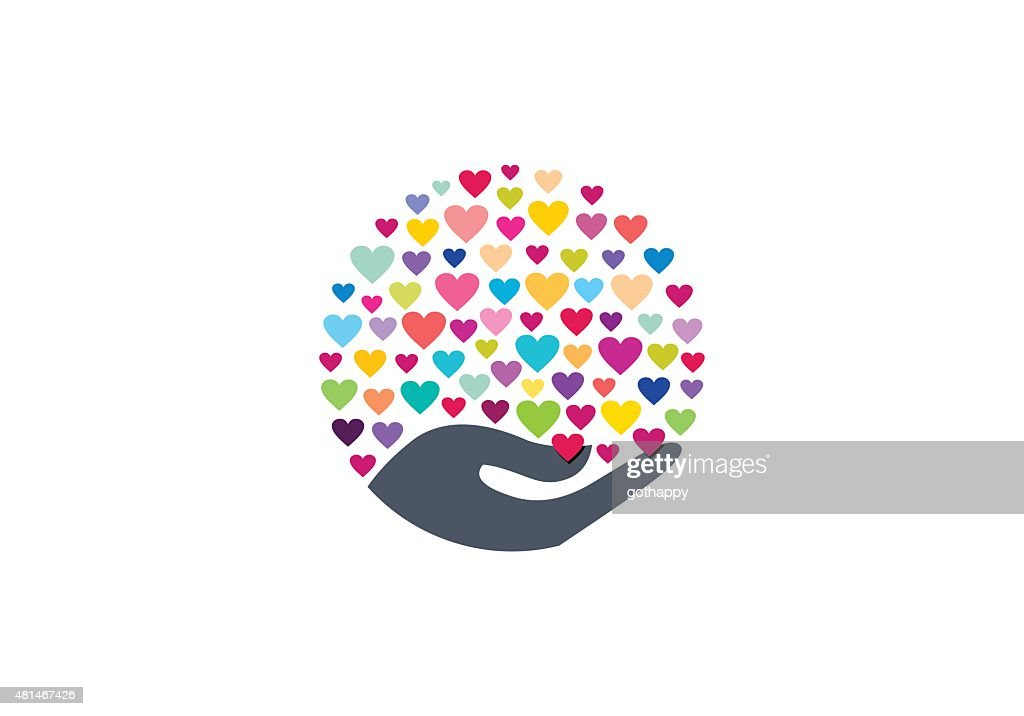 colorful hearts on hand symbol icon vector design