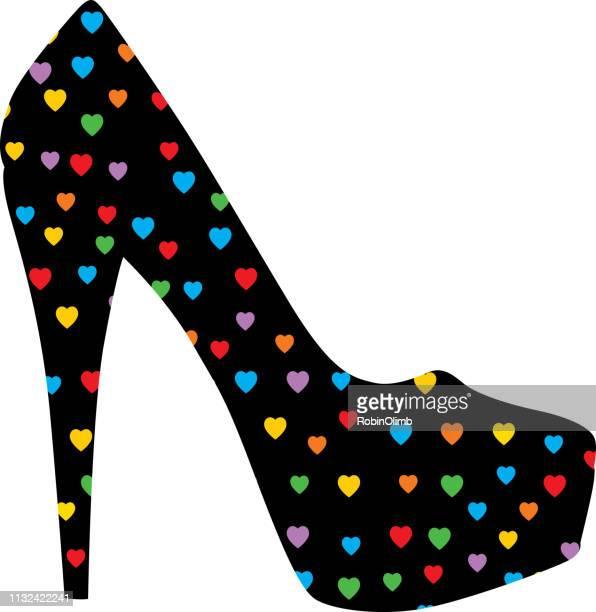 ilustraciones, imágenes clip art, dibujos animados e iconos de stock de zapato de tacón colorido de los corazones - tacones altos