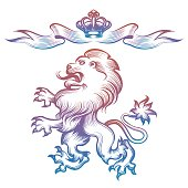 Colorful heraldy royal lion and crown