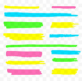 Colorful highlighters set. Yellow, green, purple and blue markers. Transparent hand drawn brush lines.
