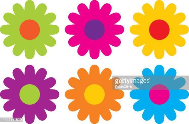 stockillustraties, clipart, cartoons en iconen met kleurrijke hippie bloem iconen - flowers