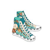 Colorful hippie hight sneakers in ornamental style. Hippie fashion.