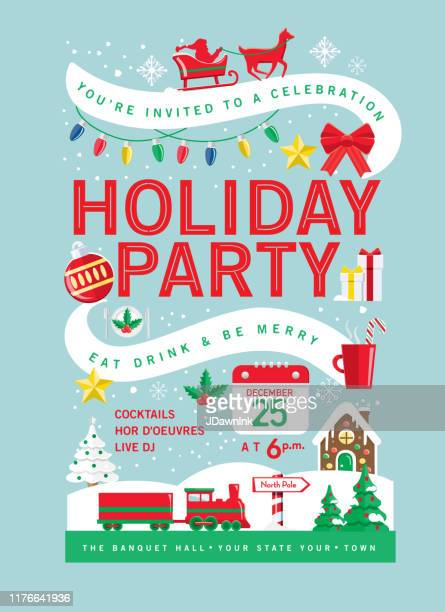 colorful holiday christmas party invitation design template with holiday icons - sleigh stock illustrations