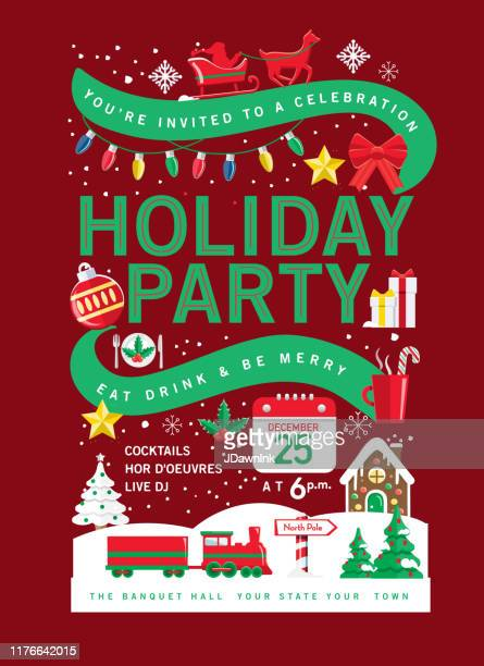 colorful holiday christmas party invitation design template with holiday icons - invitation stock illustrations