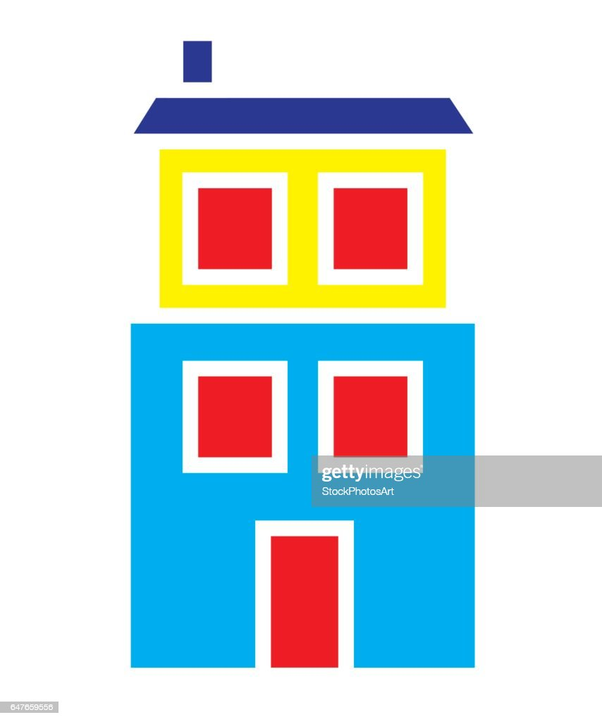 Colorful house with two floors icon vector isolated in white background.