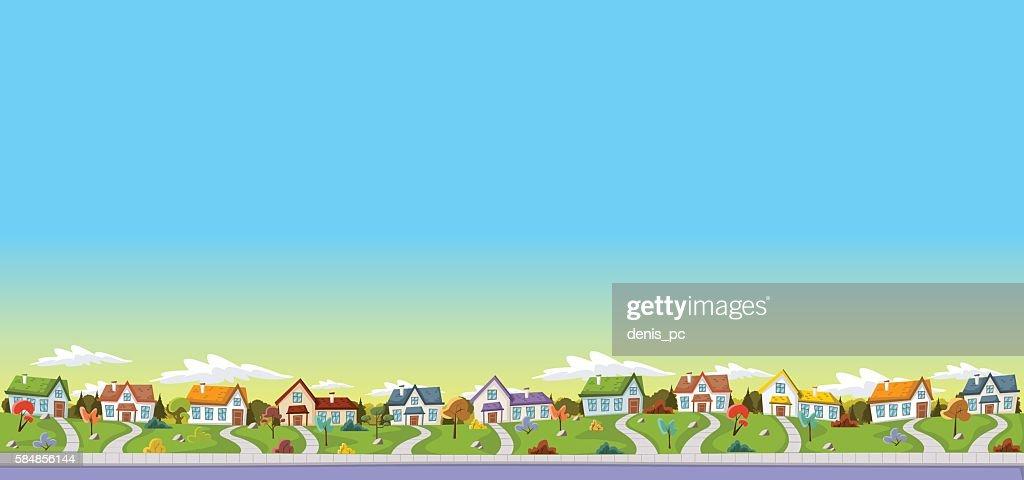 Colorful houses in suburb neighborhood