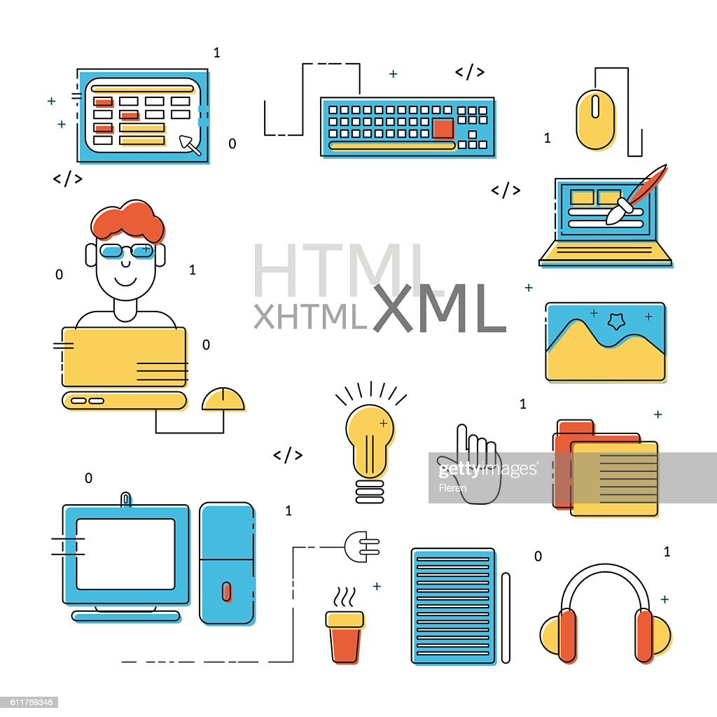 Colorful HTML line icons