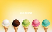 Colorful Ice cream cone, Different fruit flavors, Vector illustration