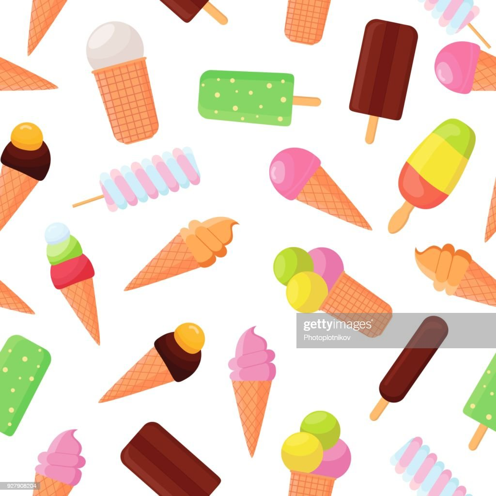 Colorful ice cream seamless pattern on white background. Collection ice-cream cones and popsicle. Soft, sweet frozen food on a stick, made from dairy products. Chocolate and vanilla ice cream dessert