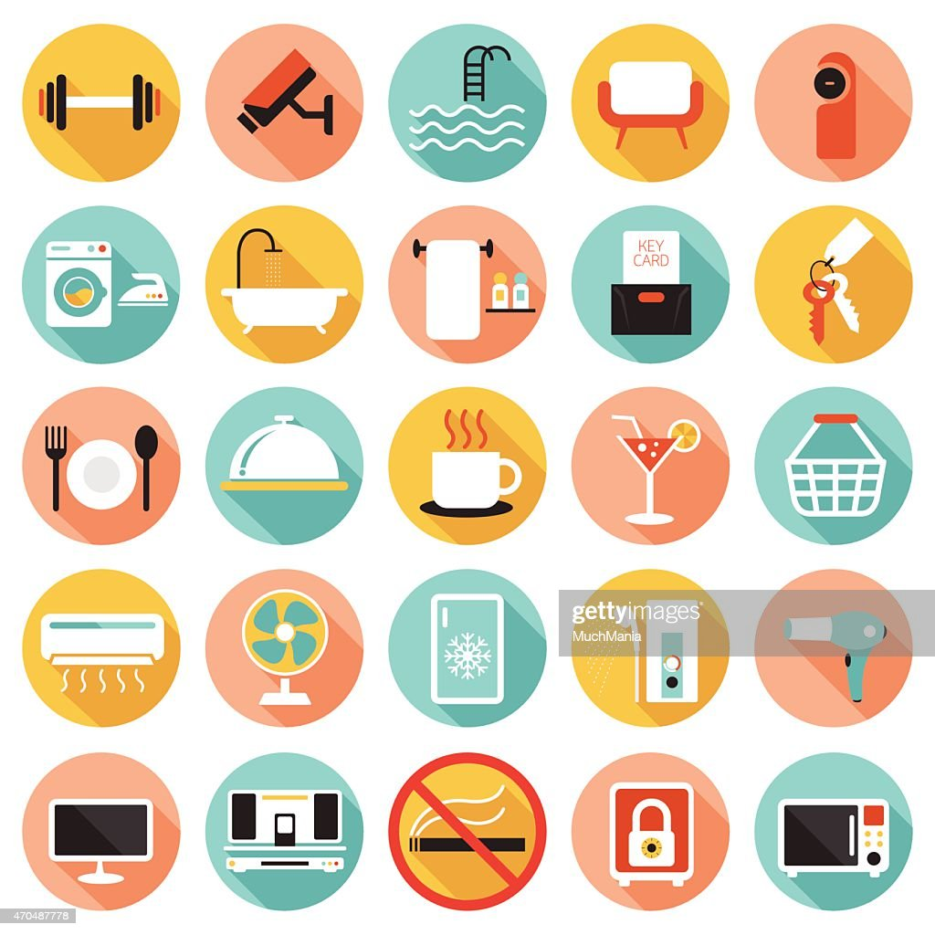 Colorful icons related to hotel accommodations