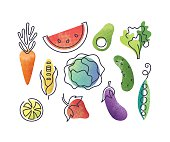 Colorful icons' set of fruits and vegetables.