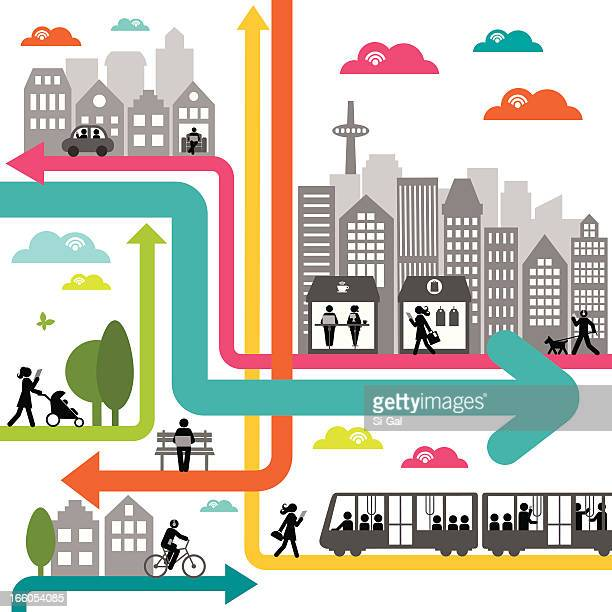 Colorful illustration of a dynamic urban network