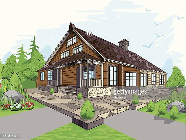 colorful illustration of a house - stone stock illustrations, clip art, cartoons, & icons